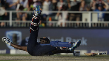 Angelo Mathews rolled his ankle while trying to complete a run