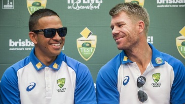 Usman Khawaja and David Warner at the launch of the Test series against Pakistan