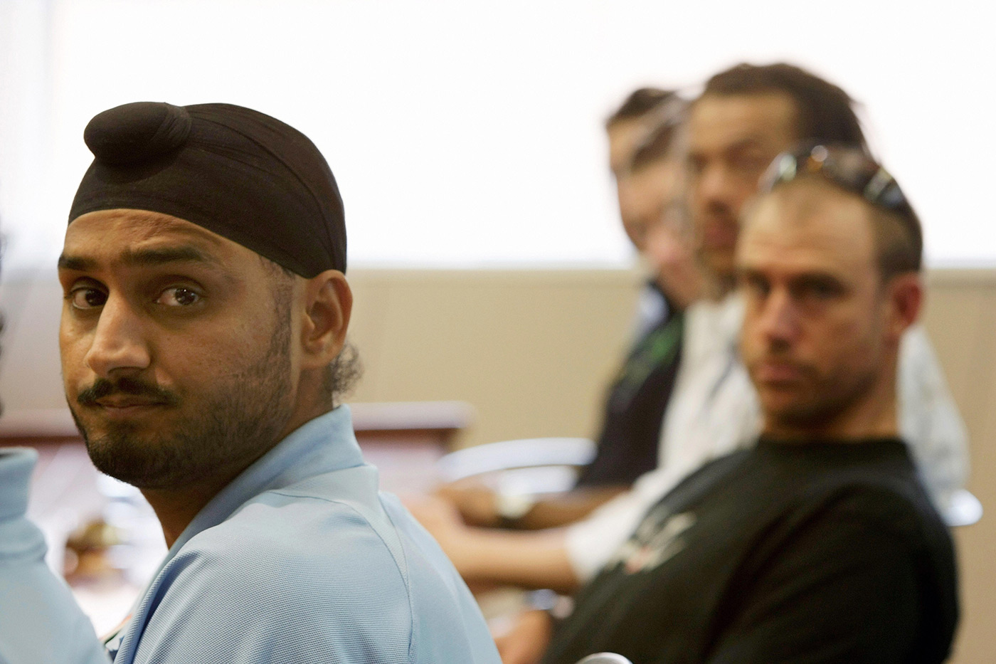 Harbhajan Singh at a court hearing in the wake of the racial abuse scandal involving him and Andrew Symonds in 2008