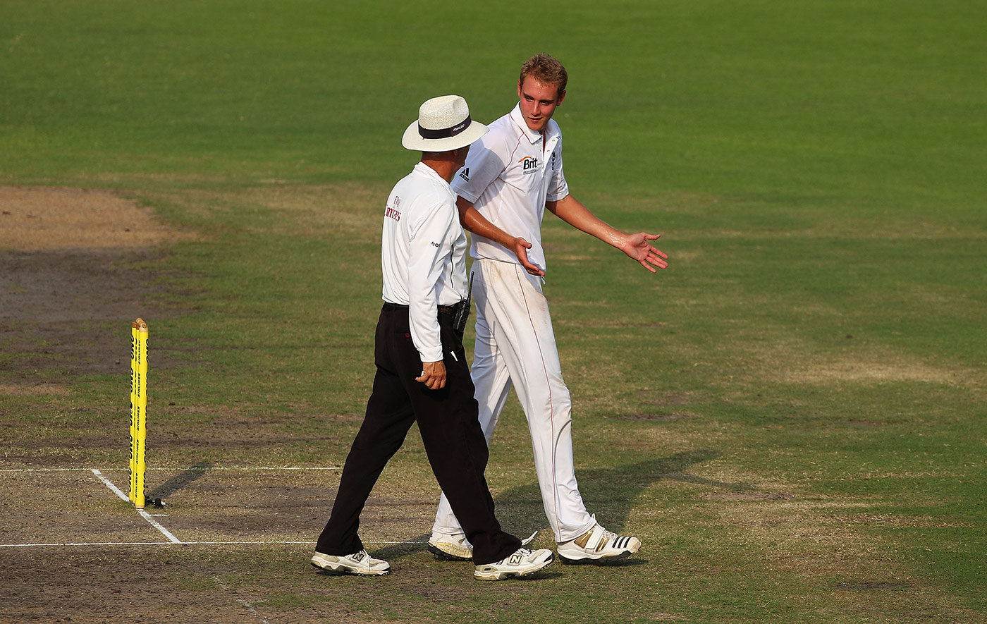 Stuart Broad's way of keeping umpires on-side might account for his having got away with infractions on a few occasions
