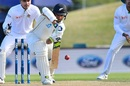 Jeet Raval blocks a delivery, New Zealand v Bangladesh, 2nd Test, Christchurch, 4th day, January 23, 2017
