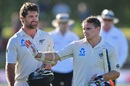 Colin de Grandhomme and Tom Latham walk back after securing a nine-wicket win, New Zealand v Bangladesh, 2nd Test, Christchurch, 4th day, January 23, 2017