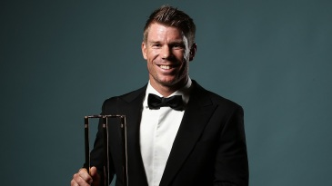 David Warner poses after being awarded the ODI Player of the Year Award