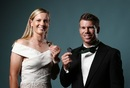 The big winners: Meg Lanning poses with the Belinda Clark Award and David Warner poses with the Allan Border Medal, Sydney, January 23, 2017