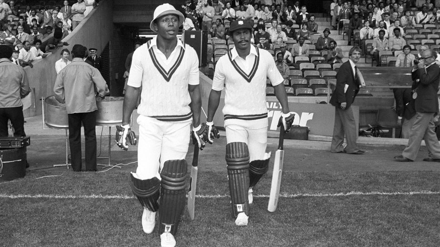 Desmond Haynes and Gordon Greenidge walk out to bat