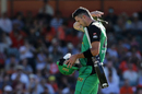 Kevin Pietersen unhooks the mic as he walks back to the dugout, Perth Scorchers v Melbourne Stars, Perth, Big Bash League 2016-17, January 24, 2017