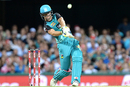 Jack Wildermuth tees off during his 16-ball 29, Brisbane Heat v Sydney Sixers, Big Bash League 2016-17, semi-final, Brisbane, January 25, 2017