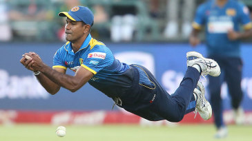 Nuwan Kulasekara couldn't hold a swirling catch in the final over