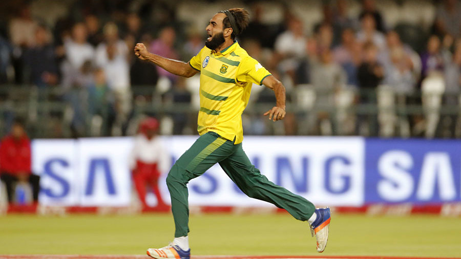 Catch me if you can: Imran Tahir sprinted a long way after his first-ball wicket