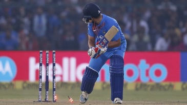 Suresh Raina was bowled around his legs after scoring 34