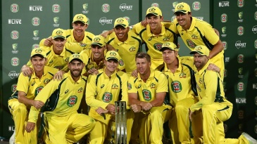 The Australian team pose after completing a 4-1 series win against Pakistan
