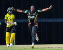 Steven Jacobs celebrates dismissing Chadwick Walton, Guyana v Jamaica, Regional Super50, Group B, Bridgetown, January 26, 2017