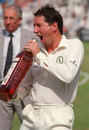 Derek Randall fools around with a bottle of whisky, Nottinghamshire v Worcestershire, Refugee Assurance League, Trent Bridge, August 4, 1991