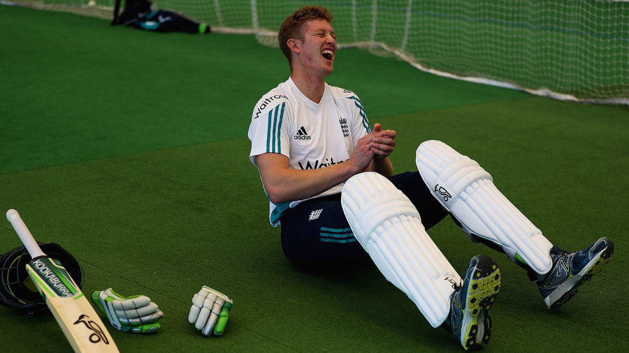 Keaton Jennings laughs during a nets session at Loughborough