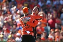 Ashton Turner and Adam Voges celebrate a wicket, Perth Scorchers v Sydney Sixers, BBL 2016-17, Final, Perth, January 28, 2017