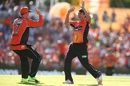 Jhye Richardson celebrates with Ashton Turner, Perth Scorchers v Sydney Sixers, BBL 2016-17, Final, Perth, January 28, 2017