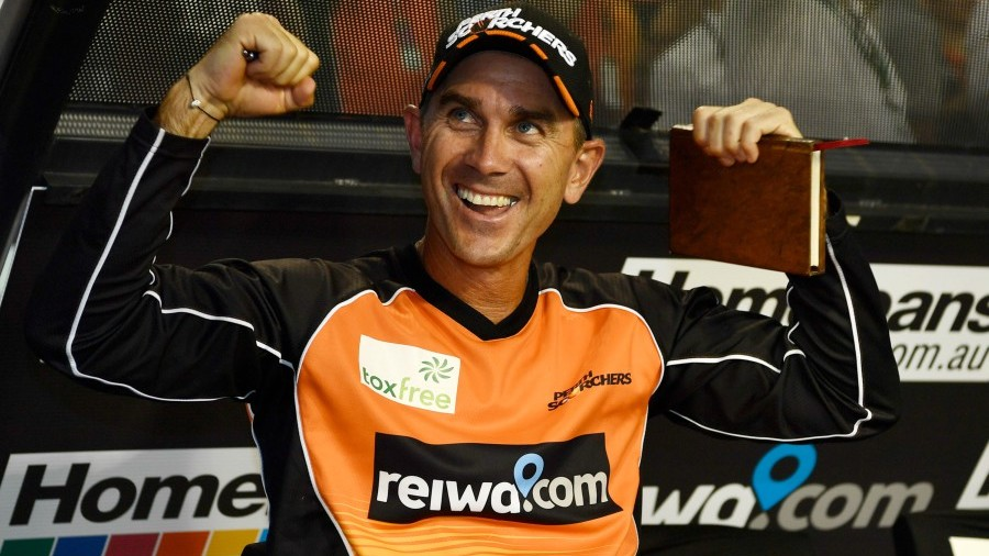 Perth Scorchers coach Justin Langer is all smiles after the franchise's third title