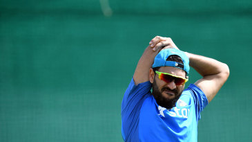 Yuvraj Singh stretches during a practice session
