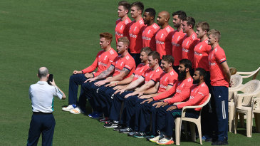 England pose for a team photo ahead of the second T20I against India