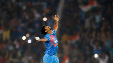 Jasprit Bumrah rejoices during his match-winning final over