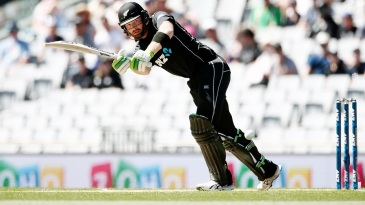 Martin Guptill eyes the leg side