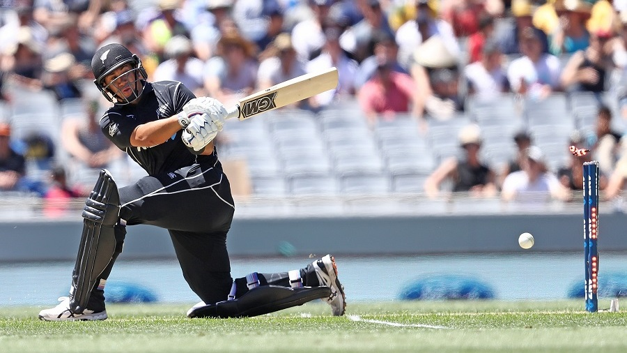 Ross Taylor drags a sweep onto his stumps