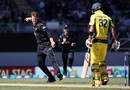 Lockie Ferguson exults after dismissing Glenn Maxwell, New Zealand v Australia, 1st ODI, Auckland, January 30, 2017