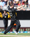 Colin Munro is thrilled after dismissing James Faulkner for his first ODI wicket, New Zealand v Australia, 1st ODI, Auckland, January 30, 2017