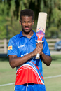 Delray Rawlins poses with his bat at Woodley Park, ICC World Cricket League Division Four, Los Angeles, November 1, 2016