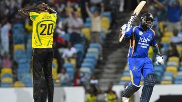 Ashley Nurse celebrates Barbados' winning runs