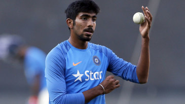 Jasprit Bumrah prepares to bowl in the nets