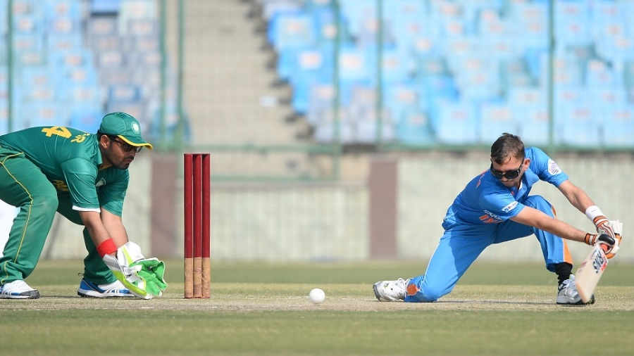 Ketanbhai Patel plays a shot against Pakistan