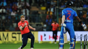 Ben Stokes reacts after dismissing KL Rahul
