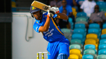 Roston Chase plays a drive during his 55-ball 76