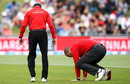 Umpires Kumar Dharmasena and Chris Brown inspect the outfield, New Zealand v Australia, 2nd ODI, Napier, February 2, 2017