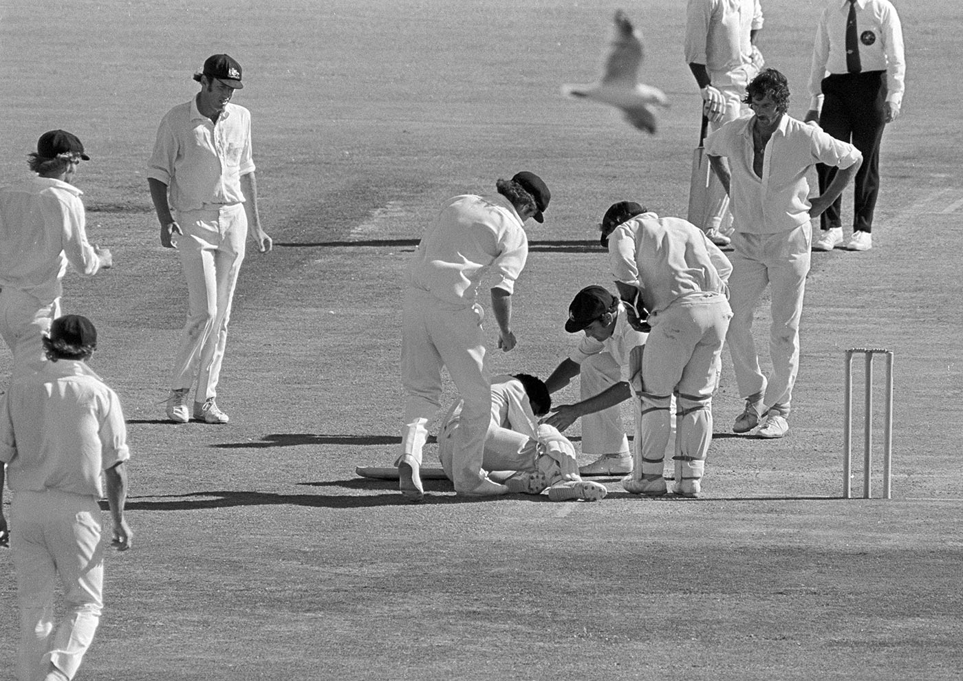 Lillee knocks Kallicharran out in the Perth Test of 1975