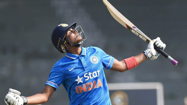 Shubman Gill looks to the heavens after bringing up his century