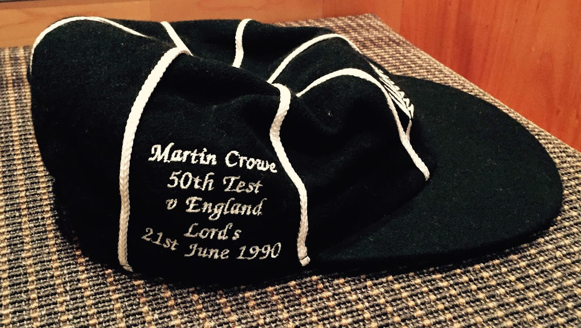 The souvenir cap that marked Crowe's 50th Test, at Lord's