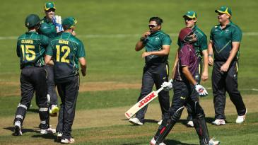 Ajaz Patel celebrates a wicket