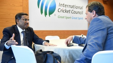 Vikram Limaye and David Peever have a chat before the ICC Board Meeting