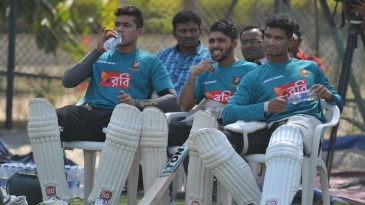Taskin Ahmed, Mominul Haque and Mahmudullah are padded up during a practice session