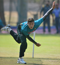 Taskin Ahmed bowls during a practice session in Hyderabad, Hyderabad, February 4, 2017