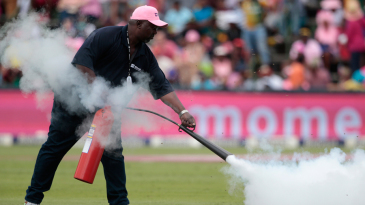 A groundsman sprays the bees with a fire extinguisher