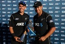 Trent Boult and Ross Taylor pose with their individual trophies after the match, New Zealand v Australia, 3rd ODI, Hamilton, February 5, 2017