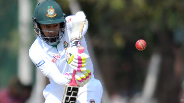 Mushfiqur Rahim gets behind the line and defends