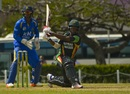 Leon Johnson swats the ball away, Barbados v Guyana, WICB Regional Super50, Bridgetown, February 5, 2017