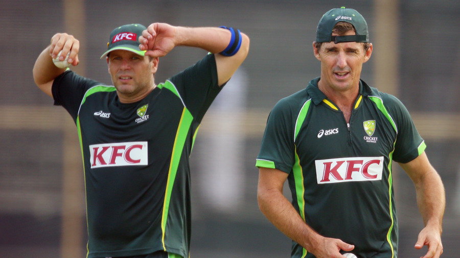 Brad Hodge and Brad Hogg at a training session