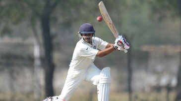 Priyank Panchal hits one through the off side