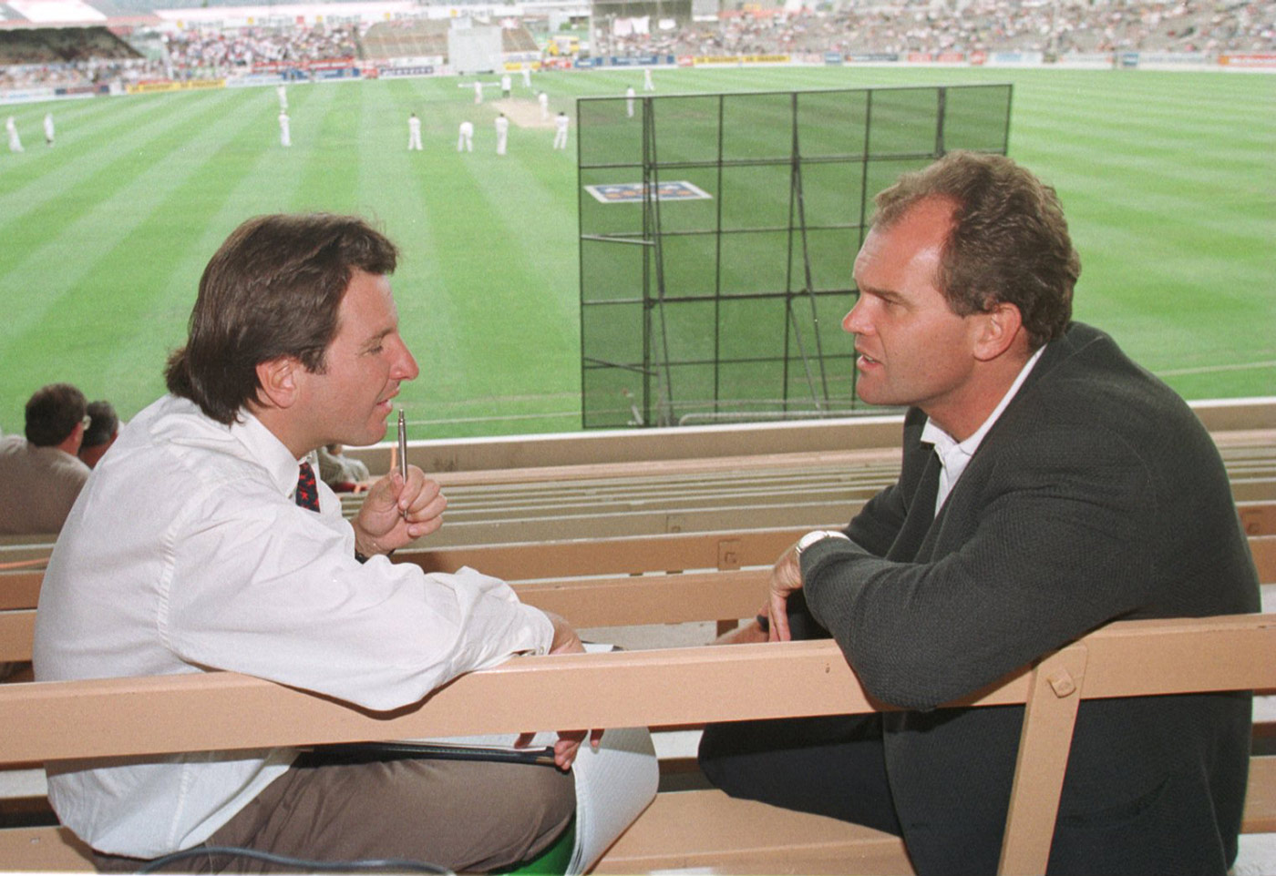 With Mark Nicholas in the stands at Lancaster Park in 1997