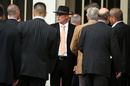 Jeff Crowe greets mourners at the funeral for his brother Martin Crowe, Auckland, March 11, 2016
